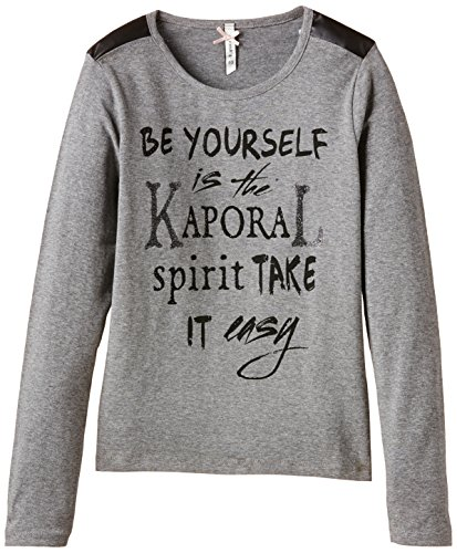 Kaporal Girl's EMAMO Plain T-Shirt, Grey (dargrm), 10 Years (Manufacturer size: 10 ans)