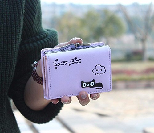 da2f831fd63 Purple - Cute Cat Short Vintage Womens Wallet Small Clutch Wallet Hand purse  For Womens Women's Girls ...