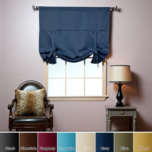 "Tie-Up Shade Solid Insulated Thermal Blackout Window Shade 63""L-NAVY - TUB"