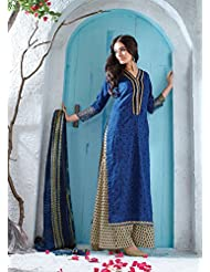 Royal Blue Cotton Printed Salwar Kameez With Palazzo Pant