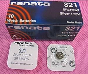 Renata 321 Pila Batería Suizo Hechod e Óxido Plata 1.5 v (SR616SW) Conocido Como SR616SW, SR65, SR616, SB-AF/DF, 280-73, DA, V321 , D321, GP321, 611, 321 x 2 de Renata