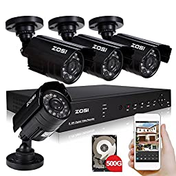 ZOSI HDMI 8CH 960H H.264 DVR with 500GB HDD Smartphone View 4x 800TVL Outdoor/Indoor Waterproof Bullet Night Vision Security camera with IR cut System(metal case)