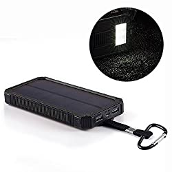 Solar Cell Phone Charger, IFITech® 15000mAh Solar Power Bank Portable Dual USB Outdoor External Battery Pack for iPhone, Samsung, HTC, Nexus Smartphone, Gopro Camera, GPS and Tablets, Black