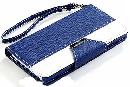 myLife Deep Royal Blue and Bright White {Two Color Fashion Design} Faux Leather (Card, Cash and ID Holder + Magnetic Closing) Slim Wallet for Galaxy Note 3 Smartphone by Samsung (External Textured Synthetic Leather with Magnetic Clip + Internal Secure Snap In Closure Hard Rubberized Bumper Holder)