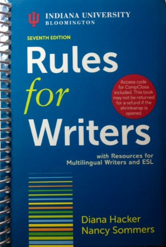 Rules for Writers with Resources for Multilingual Writers and ESL,...