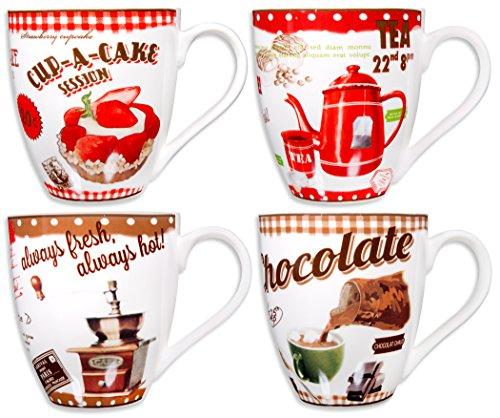 Home Essentials 4Asst Vintage Coffee 17Oz Mugs