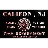 qy60938-r FIRE DEPT CALIFON , NJ NEW JERSEY Firefighter Neon Sign Barlicht Neonlicht Lichtwerbung