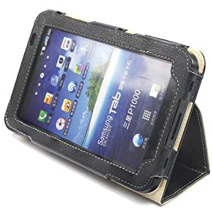 Snugg Galaxy Tab Leather Case Cover and Flip Stand for the Samsung Galaxy Tablet 7.0 (Black)
