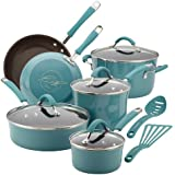 Rachael Ray Cucina Hard/Porcelain Enamel Nonstick 12-Piece Cookware Set, Agave Blue