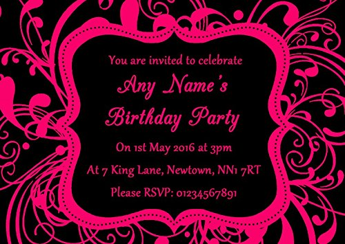 Black & Pink Swirl Deco Personalized Birthday Party Invitations