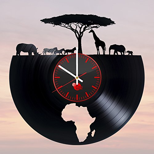 Africa-HANDMADE-Vinyl-Record-Wall-Clock-Get-unique-bedroom-kitchen-wall-decor-Gift-ideas-for-kids-men-and-women-Wild-Animals-Unique-Art-Design-Leave-us-a-feedback-and-win-your-custom-clock