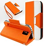 myLife (TM) Safety Orange + Envelope White - Classic Design - Koskin Faux Leather (Card, Cash and ID Holder + Magnetic Detachable Closing) Slim Wallet for NEW Galaxy S5 (5G) Smartphone by Samsung (External Rugged Synthetic Leather With Magnetic Clip + Internal Secure Snap In Hard Rubberized Bumper Holder + Lifetime Warranty + Sealed Inside myLife Authorized Packaging) ADDITIONAL DETAILS: This lightweight Galaxy S5 wallet is made of durable and high quality synthetic leather. The leather itself is textured to prevent the wallet from slipping out of your hand while being handled. This wallet comes with a magnetic clasp.