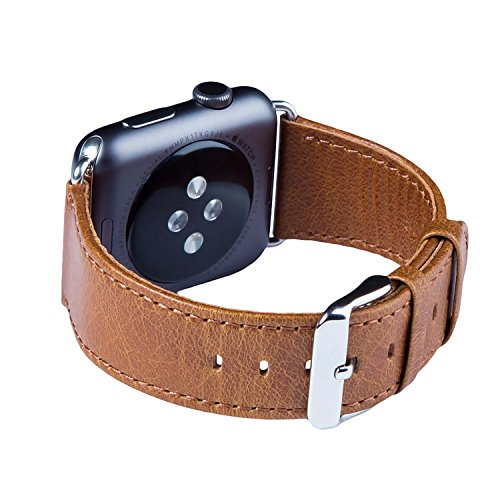 Apple Watch Band, FUTLEX 42mm Heritage Genuine Leather Strap Wrist Band Replacement w/ Metal Buckle (Adapters Included) for Apple Watch - Brown