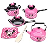 Disney Store Minnie Mouse Clubhouse Kitchen 9 Piece Cooking Accessories Pots and Pans Play Set Children, Kids, Game