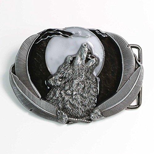 Landisun Handmade Wolf Howl Below the Moon Belt Buckle