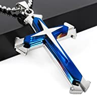 Stainless Steel Cross Pendant Men's N…
