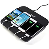 iDsonix Multi-Device 4port Charging Station With 2x 5V2.1A & 2x 5V1A Charging Port for all iPhones, iPads, Nexus, Galaxy, and Other Smartphones and Tablets