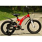 "R BABY FLYBEAR FREESTYLE BMX FULL FRONT FORK AND FRAME DUAL SUSPENTION KIDS BIKE IN COLOUR RED AND YELLOW, IN SIZE 12"" 14"" 16"" free heavy duty adjustable removable stabilisers"