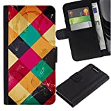 For Sony Xperia Z1 Compact / Z1 Mini / D5503,S-type® Modern Art Coffee Table Colorful Marks - Drawing PU Leather Wallet Style Pouch Protective Skin Case