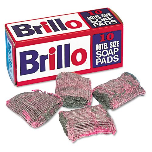 Brillo Products - Brillo - Steel Wool Soap Pad, 10/Box - Sold As 1 Box - Hotel size for heavy-duty cleaning of pots and pans.
