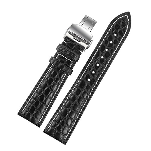 20mm-black-luxury-crocodile-leather-replacement-watch-straps-bands-handmade-with-contrast-white-stit