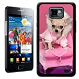 Fancy A Snuggle Cool Chihuahua Dog on Chair Design Hard Case Clip On Back Cover for Samsung Galaxy S2 i9100