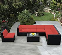 Hot Sale ohana collection PN0804Red Genuine Ohana Outdoor Patio Wicker Furniture 8-Piece All Weather Gorgeous Couch Set with Free Patio Cover, Red
