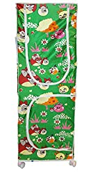 Kotak Sales Multipurpose 5.2ft Elders, Younger Kids Baby Infant Child Angry Bird Printed Wardrobe Moving Folding Almirah Shirt Saree Hanger Organizer 3 Shelves Rolling 62Inch Size For Cloths, Shoes, Books, Etc