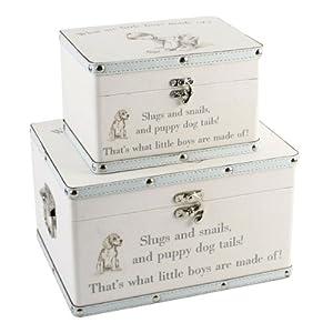 Set of 2 little boys 'luggage' keepsake gift box (Blue)