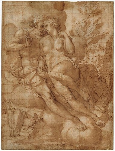 Jupiter And Io (Recto); Sketch Of A Male Figure Stabbing Himself In The Chest (Verso) Poster Print By Attributed To Francesco Salviati (18 X 24)