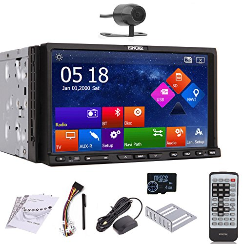 EinCar GPS Navigation Rear Camera 7-Inch Motorized Capacitive Double-2 DIN In Dash Car DVD Player Touch screen LCD Monitor with DVD/CD/MP3/MP4/USB/SD/AM/FM/RDS Radio/Bluetooth/Stereo/Audio and SAT NAV Wall Paper exchange HD:800*480 LCD+Windows Win 8 UI Design Free GPS Antenna+Free GPS Map+Free Backup Camera