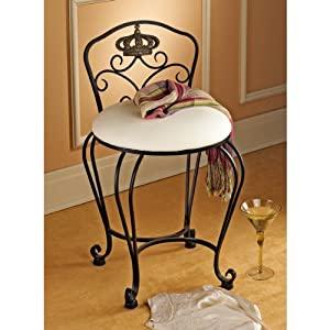 Queen 39 s crown metal vanity chair bathroom for Queen bathroom decor