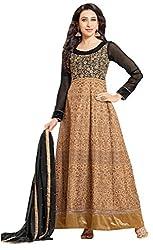 FastColors Women's Georgette Long Anarkali Unstitched Salwar Suit Dress Material(50004_FC_Brown)