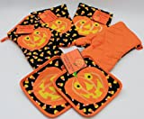 Pumpkin Candy Corn Theme Kitchen Accessories Set Of 6 (Includes 2 Pot Holders, 2 Oven Mitts & 2 Towels)