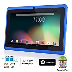 Dragon Touch® 7'' Blue Dual Core Y88 Google Android 4.1 Tablet PC, Dual Camera, HD 1024x600, Google Play Pre-load, HDMI, 4GB 3D Game Supported (enhanced version of A13) [By TabletExpress]