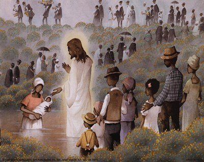 Black Baptism MUSEUM WRAP CANVAS Print With Added Heavy BRUSHSTROKES Charles Carol Coleman 10x8