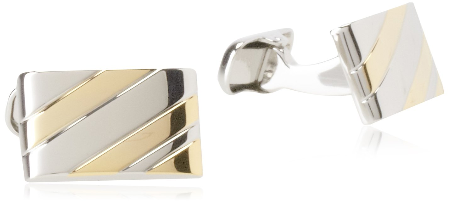 Donald Trump Men's Stripe Silver and Gold Tone Cufflinks