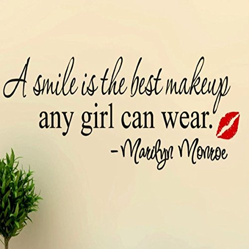 Marilyn Monroe Removable Wall Decal Quote, A Smile Is The Best Makeup Any Girl Can Wear -Marilyn Monroe