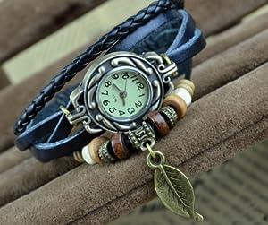 R.T. Fashion Lady Weave Leather wrap around Bracelet Watch,T13 - Black