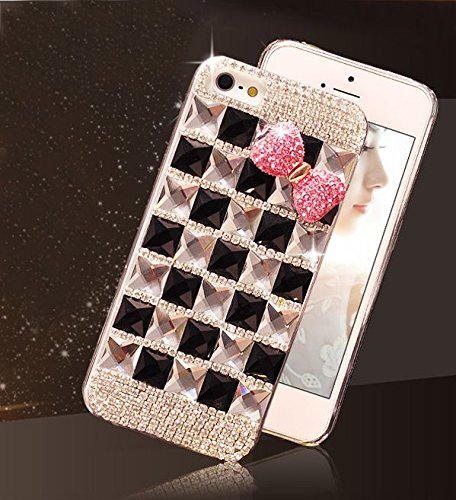 Extreme Deluxe Bling Diamante Bow Bowknot Handmade Clear Crystal Rhinestone Diamond Skin Case Cover for iPhone 6 4.7 inch Screen