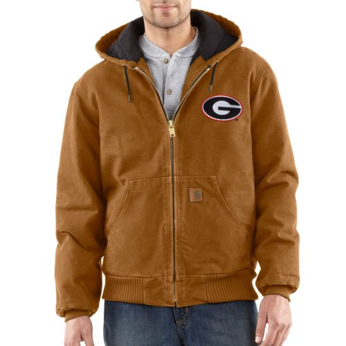Ncaa Georgia Bulldogs Men'S Quilted Flannel Lined Sandstone Active Jacket, Carhartt Brown, X-Large front-705299
