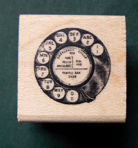 Vintage phone dial rubber stamp WM 2.2x2.2