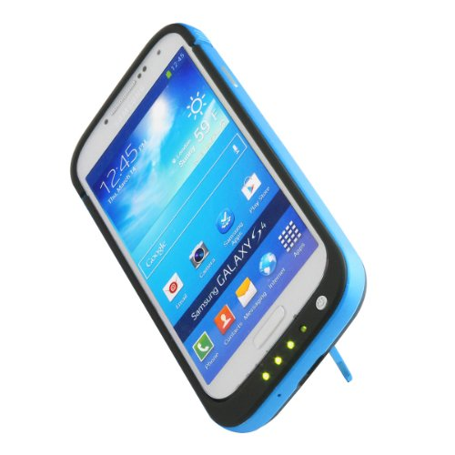 4200Mah Portable Usb External Rechargeable Backup Battery Power Bank Charger Case With Viewing Stand For Samsung Galaxy S4 I9500 (Black + Blue)