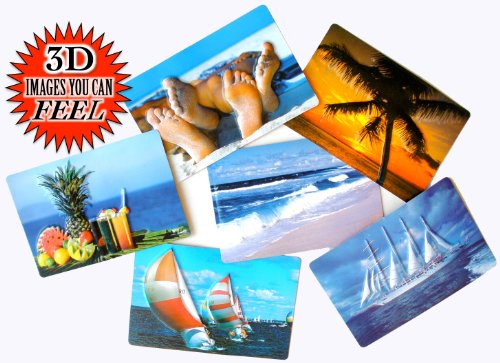 3D Warm Weather Tropical Beach Vacations Themed Postcards - Collectors Set Of 6