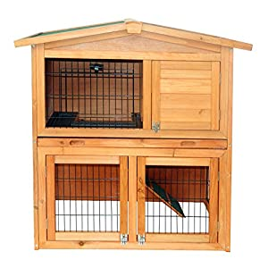 """PawHut 40"""" Rabbit Hutch Chicken Coop Wood Cage Poultry House Small Animal Habitats with Run"""