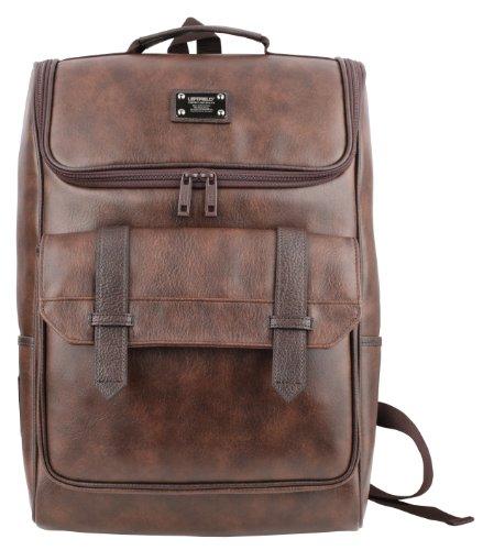 Men'S Synthetic Leather Laptop Backpacks School Book Bags Hp619 Dark Brown