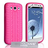 Samsung Galaxy S3 Silicone Gel Tyre Tread Case - Hot Pinkby Yousave Accessories