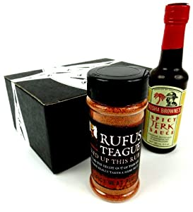 Spicy Seasonings 2-Flavor Variety: One 6.5 oz Bottle of Rufus Teague Spicy Meat Rub and One 5 oz Bottle of Busha Browne's Spicy Jerk Sauce in a Gift Box