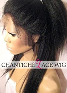Chantiche Natural Looking Italian Yaki Full Lace Wig Best Brazilian Remy Human Hair Wigs 130% Density Medium Cap Size Medium Brown Lace 14inch Natural Color