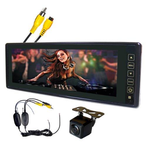 CMDバックカメラ ワイヤレス映像接続ケーブル付 2系統映像入力8.8ミラーモニターセット